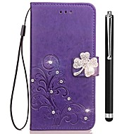preiswerte Handyhüllen-Hülle Für Vivo X20 Plus X20 Kreditkartenfächer Geldbeutel Strass mit Halterung Flipbare Hülle Geprägt Ganzkörper-Gehäuse Blume Hart