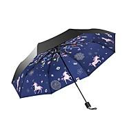 abordables Accesorios para la Lluvia-Tejido Mujer / Todo Soleado y lluvioso / A prueba de Viento / nuevo Paraguas de Doblar