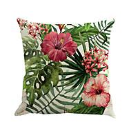 abordables Tissus de Maison-1 pcs Coton / Lin Housse de coussin / Nouveaux Oreillers / Taie d'oreiller, Fleur / Nouveauté / Mode Fleur / Tropical