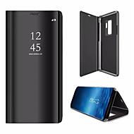 cheap Samsung Accessories-Case For Samsung Galaxy S9 S9 Plus with Stand Plating Mirror Flip Auto Sleep/Wake Up Full Body Cases Solid Color Hard PU Leather for S9