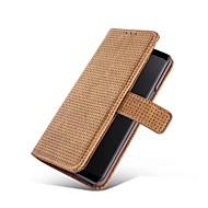 Недорогие Чехлы и кейсы для Galaxy S7 Edge-Кейс для Назначение SSamsung Galaxy S9 S9 Plus Бумажник для карт Кошелек со стендом Чехол Сплошной цвет Твердый Настоящая кожа для S9