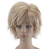 Недорогие Парики-Искусственные волосы парики Кудрявый Природные волосы Стрижка каскад Без шапочки-основы Парик из натуральных волос Короткие Блондинка