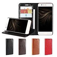 お買い得  携帯電話ケース-ケース 用途 Huawei P10 Plus P10 Lite カードホルダー ウォレット 耐衝撃 スタンド付き フリップ フルボディーケース 純色 ハード 本革 のために P10 Plus P10 Lite P10 Huawei P9 Plus Huawei P9
