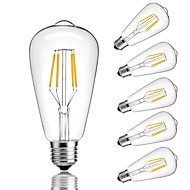 cheap LED Filament Bulbs-6pcs 4W 360 lm E26/E27 LED Filament Bulbs ST64 4 leds COB Decorative Warm White Cold White 220-240V