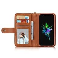 Недорогие Кейсы для iPhone 8 Plus-Кейс для Назначение Apple iPhone X iPhone 8 Бумажник для карт Кошелек Защита от удара Флип Чехол Сплошной цвет Твердый Кожа PU для iPhone