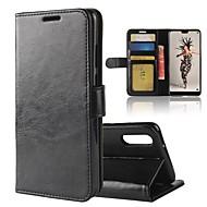 olcso Mobiltelefon tokok-Case Kompatibilitás Huawei P20 lite P20 Kártyatartó Pénztárca Állvánnyal Flip Mágneses Héjtok Egyszínű Kemény PU bőr mert Huawei P20 lite