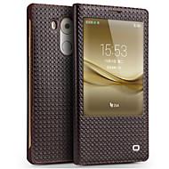 お買い得  携帯電話ケース-ケース 用途 Huawei Mate 9 Mate 8 耐衝撃 ウィンドウ付き フリップ フルボディーケース 純色 ハード 本革 のために Huawei Mate 8