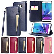 Недорогие Чехлы и кейсы для Galaxy Note-Кейс для Назначение SSamsung Galaxy Note 5 Бумажник для карт Кошелек со стендом Флип Чехол Сплошной цвет Твердый Кожа PU для Note 5