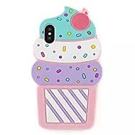 Недорогие Кейсы для iPhone 8 Plus-Кейс для Назначение Apple iPhone X iPhone 8 С узором Кейс на заднюю панель Мороженное 3D в мультяшном стиле Мягкий Силикон для iPhone X