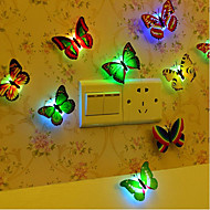 10pcs Butterfly LED Night Light Color-changing Button Battery Powered Decoration Color-Changing