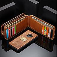 Недорогие Чехлы и кейсы для Galaxy S7 Edge-Кейс для Назначение SSamsung Galaxy S9 Plus S8 Бумажник для карт Кошелек Защита от удара со стендом Флип Чехол Сплошной цвет Твердый
