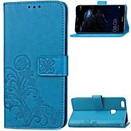 お買い得  携帯電話ケース-ケース 用途 Huawei P10 Plus P10 Lite カードホルダー ウォレット フリップ フルボディーケース フラワー ハード 本革 のために P10 Plus P10 Lite P10