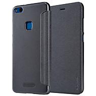 お買い得  携帯電話ケース-ケース 用途 Huawei P8 Lite(2017) P10 Lite フリップ つや消し フルボディーケース 純色 ハード PUレザー のために P10 Lite P8 Lite (2017)