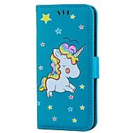 Недорогие Чехлы и кейсы для Galaxy S8 Plus-Кейс для Назначение SSamsung Galaxy S8 Plus S8 Бумажник для карт Кошелек со стендом Флип Рельефный Чехол единорогом Твердый Кожа PU для