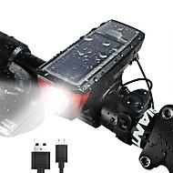 お買い得  フラッシュライト/ランタン/ライト-自転車用ヘッドライト LED 自転車用ライト サイクリング 防水, クイックリリース, 複数のモード ソーラーパワー 350 lm 充電池 キャンプ / ハイキング / ケイビング / サイクリング / ABS樹脂 / IPX-4