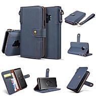 Недорогие Чехлы и кейсы для Galaxy S7 Edge-Кейс для Назначение SSamsung Galaxy S9 S9 Plus Бумажник для карт Кошелек Флип Чехол Однотонный Твердый Кожа PU для S9 Plus S9 S8 Plus S8