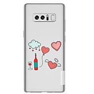 Недорогие Чехлы и кейсы для Galaxy Note-Кейс для Назначение SSamsung Galaxy Note 8 Прозрачный С узором Кейс на заднюю панель С сердцем Мультипликация Мягкий ТПУ для Note 8