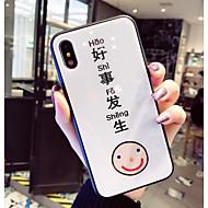 abordables Estuches Cool & Fashion para iPhone-Funda Para Apple iPhone X / iPhone 8 Diseños Funda Trasera Palabra / Frase / Caricatura Dura Vidrio Templado para iPhone X / iPhone 8 Plus / iPhone 8