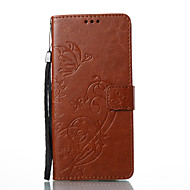 Недорогие Чехлы и кейсы для Galaxy Note-Кейс для Назначение SSamsung Galaxy Note 8 Бумажник для карт со стендом Флип Рельефный Чехол Бабочка Цветы Твердый Кожа PU для Note 8