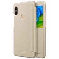 お買い得  携帯電話ケース-ケース 用途 Xiaomi Redmi Note 5 Pro ウィンドウ付き フリップ オートスリープ / ウェイクアップ フルボディーケース ソリッド ハード PUレザー のために Xiaomi Redmi Note 5 Pro