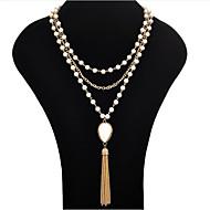 preiswerte -Damen Perle Perlenkette Statement Ketten  -  Quaste Modisch Weiß Schwarz Modische Halsketten Für Party Besondere Anlässe Geburtstag