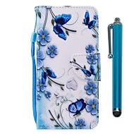 preiswerte Handyhüllen-Hülle Für Wiko WIKO Sunny 2 plus Geldbeutel / Kreditkartenfächer / mit Halterung Ganzkörper-Gehäuse Schmetterling Hart PU-Leder für Wiko View XL / Wiko View / WIKO Sunny 2 plus