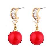 preiswerte -Damen Kubikzirkonia / Perle Perle / Zirkon Tropfen-Ohrringe - Metallisch / Sexy / Ethnisch Rot Kreisform / Geometrische Form Ohrringe Für