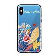 Недорогие Кейсы для iPhone 8-Кейс для Назначение Apple iPhone X iPhone 8 С узором Кейс на заднюю панель Цветы Твердый Закаленное стекло для iPhone X iPhone 8 Pluss