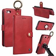 Недорогие Кейсы для iPhone 8 Plus-Кейс для Назначение Apple iPhone X iPhone 8 Бумажник для карт Кошелек Кольца-держатели Флип Магнитный Чехол Однотонный Твердый Настоящая