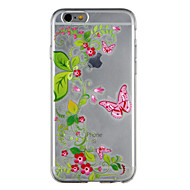 Недорогие Кейсы для iPhone 8-Кейс для Назначение Apple iPhone 8 iPhone 7 Прозрачный С узором Кейс на заднюю панель Бабочка Цветы Мягкий ТПУ для iPhone 8 Pluss iPhone