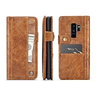 Недорогие Чехлы и кейсы для Galaxy S9-Кейс для Назначение SSamsung Galaxy S9 S9 Plus Бумажник для карт Кошелек Флип Магнитный Чехол Однотонный Твердый Настоящая кожа для S9