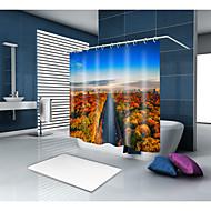 お買い得  浴室用小物-シャワーカーテン&フック コンテンポラリー 新古典主義 ポリエステル 現代風 ノベルティ柄 機械製 防水 浴室