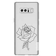Недорогие Чехлы и кейсы для Galaxy Note-Кейс для Назначение SSamsung Galaxy Note 8 Прозрачный С узором Кейс на заднюю панель Цветы Мягкий ТПУ для Note 8