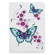 cheap iPad  Cases / Covers-Case For Apple iPad (2017) iPad Pro 9.7 Card Holder Wallet with Stand Pattern Auto Sleep / Wake Up Full Body Cases Butterfly Hard PU