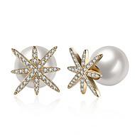 billige Smykker & Ure-Dame Kvadratisk Zirconium / Ferskvandsperle Stangøreringe - Perle, Rustfrit Stål, 18K Guld Mode Hvid / Lysebrun Til Gave / Daglig