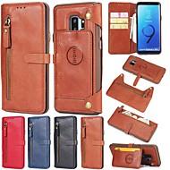 Недорогие Чехлы и кейсы для Galaxy S-Кейс для Назначение SSamsung Galaxy S9 S9 Plus Бумажник для карт Кошелек со стендом Флип Кейс на заднюю панель Чехол Однотонный Твердый
