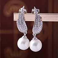billige Smykker & Ure-Dame Kvadratisk Zirconium Klipøreringe - Bladformet, Fjer Mode, Elegant Hvid Til Bryllup Forlovelse