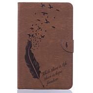 Недорогие Чехлы и кейсы для Galaxy Tab E 9.6-Кейс для Назначение SSamsung Galaxy Tab E 9.6 Бумажник для карт Кошелек со стендом С узором Авто Режим сна / Пробуждение Чехол Перья