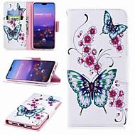 voordelige Mobiele telefoonhoesjes-hoesje Voor Huawei P20 lite P20 Pro Kaarthouder Portemonnee met standaard Flip Patroon Volledig hoesje Vlinder Hard PU-nahka voor Huawei