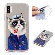 Недорогие Кейсы для iPhone 8-Кейс для Назначение Apple iPhone X / iPhone 8 Plus Прозрачный / С узором Кейс на заднюю панель Кот Мягкий ТПУ для iPhone X / iPhone 8