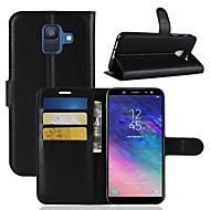 Недорогие Чехлы и кейсы для Galaxy А-Кейс для Назначение SSamsung Galaxy A6+ (2018) / A6 (2018) Кошелек / Бумажник для карт / Флип Чехол Однотонный Твердый Кожа PU для A6