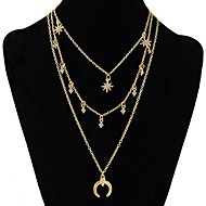 cheap -Women's Multi Layer Moon Rhinestone Layered Necklace  -  Sweet / Fashion / Multi Layer Geometric Gold / Silver 63cm Necklace For Evening