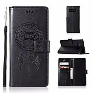 Недорогие Чехлы и кейсы для Galaxy Note-Кейс для Назначение SSamsung Galaxy Note 8 Кошелек / Бумажник для карт / со стендом Чехол Сова Твердый Кожа PU для Note 8