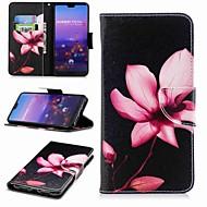 olcso Mobiltelefon tokok-Case Kompatibilitás Huawei P20 lite P20 Pro Kártyatartó Pénztárca Állvánnyal Flip Minta Héjtok Virág Kemény PU bőr mert Huawei P20 lite