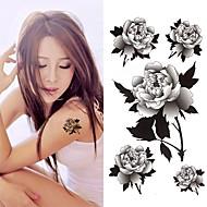 billige Midlertidige tatoveringer-3 pcs Tatoveringsklistermærker Midlertidige Tatoveringer Blomster Serier Kropskunst håndled