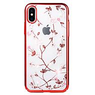 Недорогие Кейсы для iPhone 8-Кейс для Назначение Apple iPhone X / iPhone 8 Стразы / Покрытие / Рельефный Кейс на заднюю панель Цветы Твердый ПК для iPhone X / iPhone 8 Pluss / iPhone 8