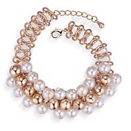 preiswerte -Damen Dicke Kette Bettelarmbänder / Gliederarmband - Künstliche Perle Europäisch, Modisch, Elegant Armbänder Gold Für Party
