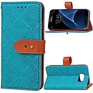 Case For Samsung Galaxy S7 Wallet / Card Holder / with Stand Full Body Cases Solid Colored Hard PU Leather for S7