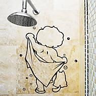 お買い得  インテリア用品-ステッカー&テープ シンプル / 防水 / ノンテープ・タイプ 普通 / カトゥーン / 近代の PVC 1個 バスルームの装飾