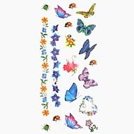 رخيصةأون وشم مؤقت-1 pcs ملصقات الوشم الوشم المؤقت سلسلة الحيوانات / سلسلة الزهور الفنون الجسم أيادي / ذراع / معصم